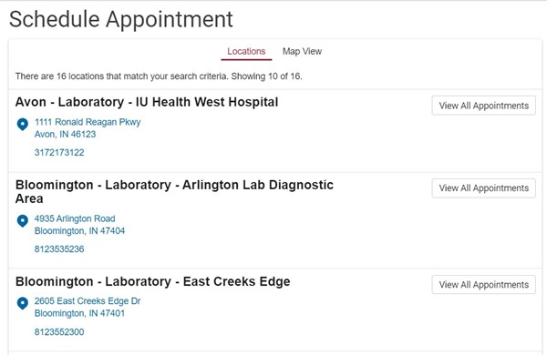 appointment location list