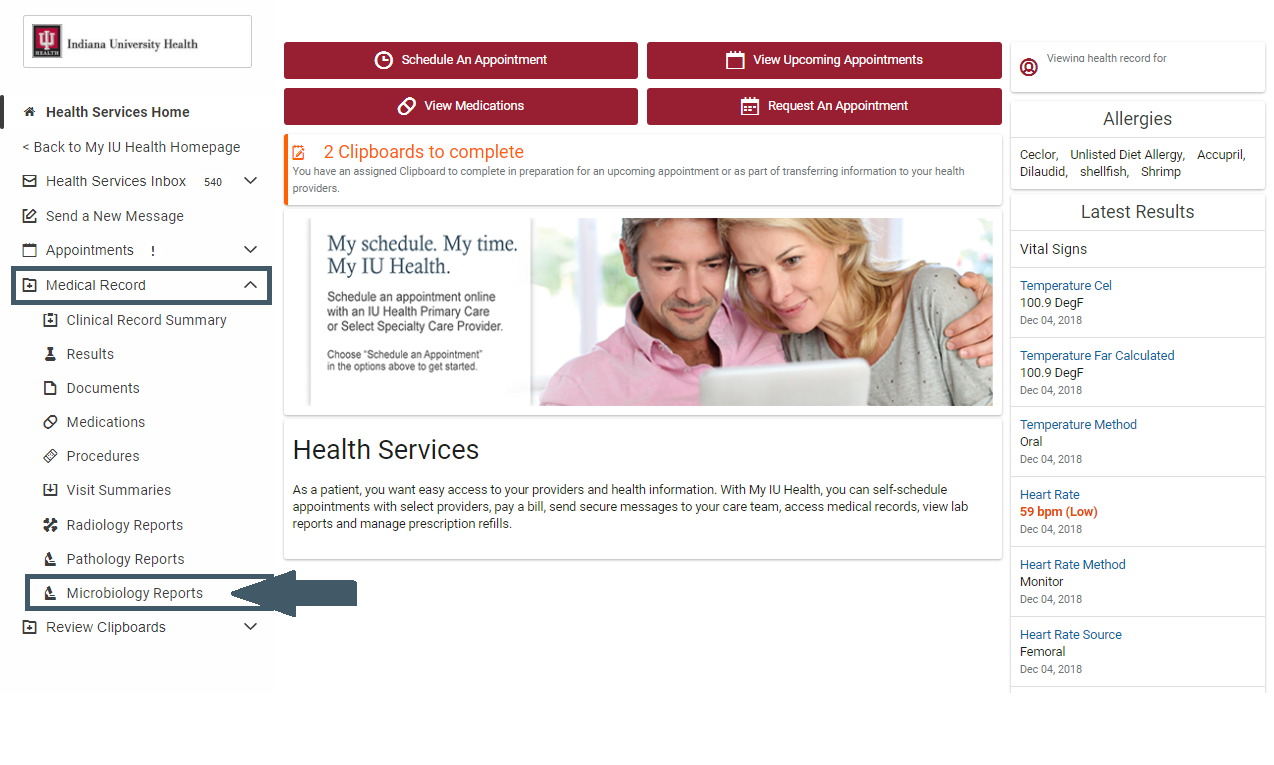 Screenshot of Health Services and subfolder for Microbiology
