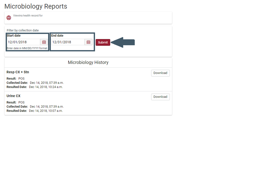 Screenshot of the filter by date option for Microbiology Reports