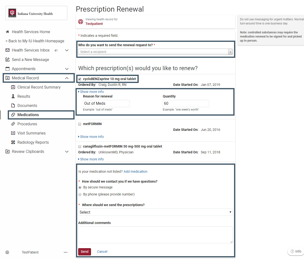 Screenshot of medication renewal page